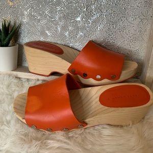 Zara Woman Orange Wooden Sole Clogs